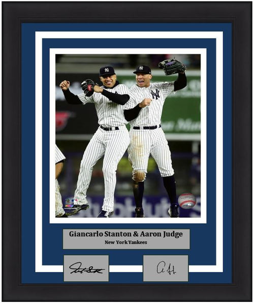 "Giancarlo Stanton & Aaron Judge Celebration New York Yankees MLB Baseball 8"" x 10"" Framed and Matted Photo with Engraved Autographs - Dynasty Sports & Framing"