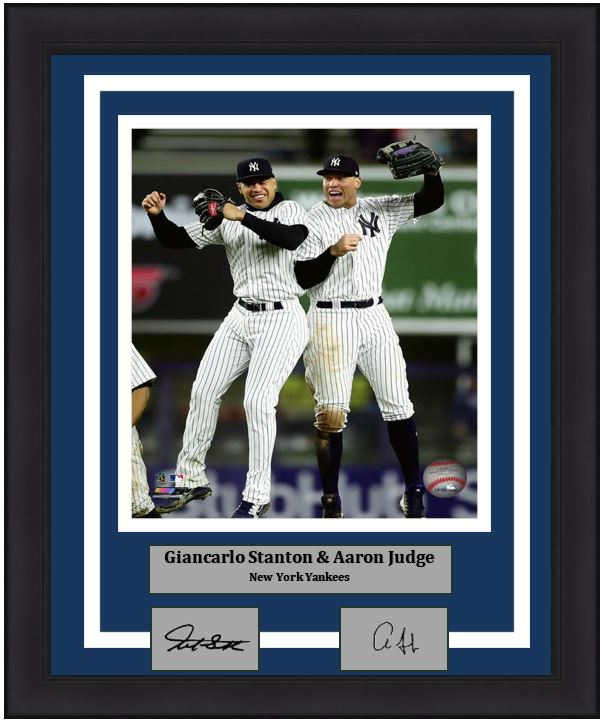 "New York Yankees Giancarlo Stanton & Aaron Judge Engraved Autograph MLB Baseball 8"" x 10"" Framed & Matted Photo (Dynasty Signature Collection)"