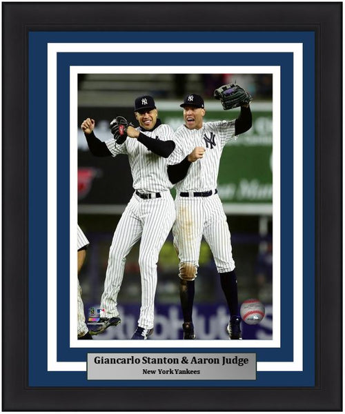 "Giancarlo Stanton & Aaron Judge Celebration New York Yankees MLB Baseball 8"" x 10"" Framed and Matted Photo - Dynasty Sports & Framing"