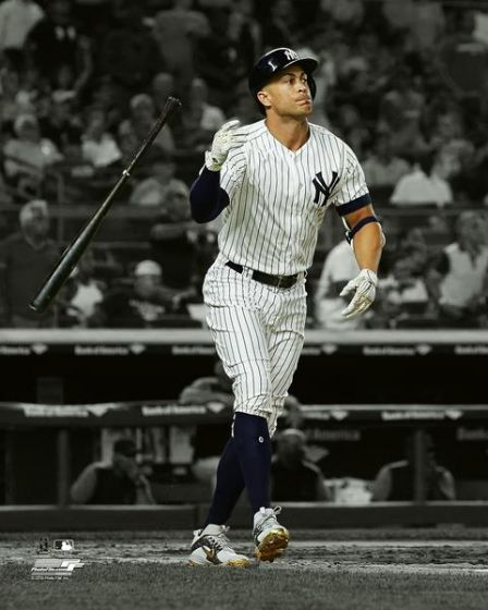 "Giancarlo Stanton Bat Flip Spotlight New York Yankees MLB Baseball 8"" x 10"" Photo"