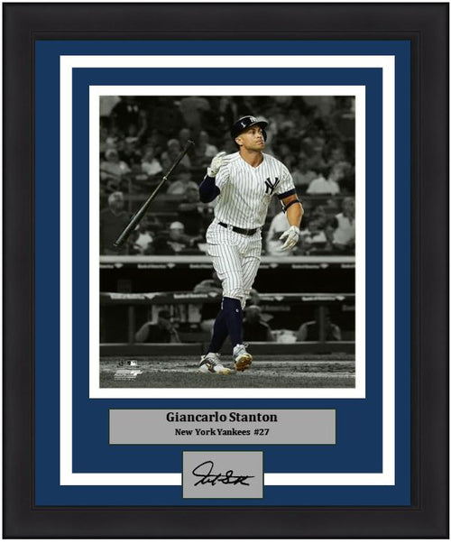 "Giancarlo Stanton Bat Flip Spotlight New York Yankees MLB Baseball 8"" x 10"" Framed and Matted Photo with Engraved Autograph"