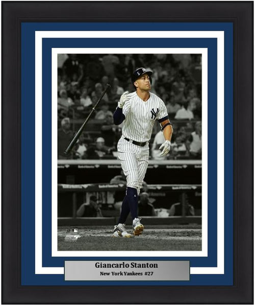 "Giancarlo Stanton Bat Flip Spotlight New York Yankees MLB Baseball 8"" x 10"" Framed and Matted Photo - Dynasty Sports & Framing"