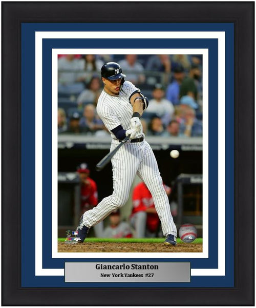 "Giancarlo Stanton Swinging at the Plate New York Yankees MLB Baseball 8"" x 10"" Framed and Matted Photo - Dynasty Sports & Framing"