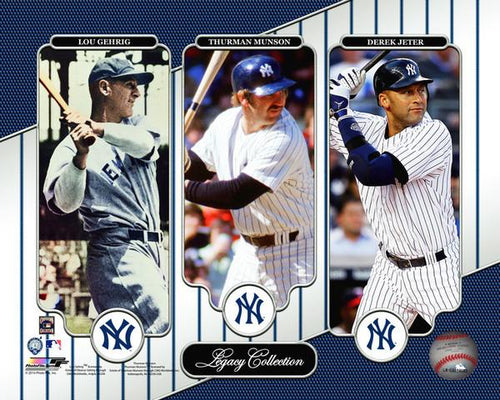 "New York Yankees Lou Gehrig, Thurman Munson, & Derek Jeter MLB Baseball 8"" x 10"" Legacy Photo"
