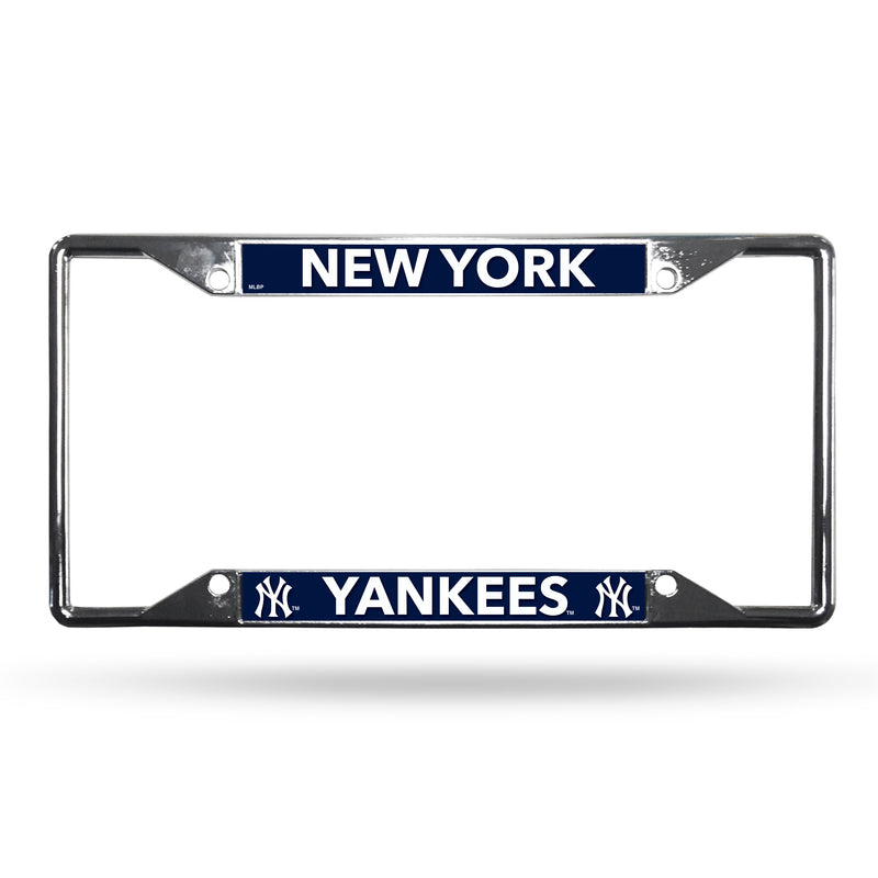 New York Yankees MLB Baseball EZ-View Chrome License Plate Frame - Dynasty Sports & Framing