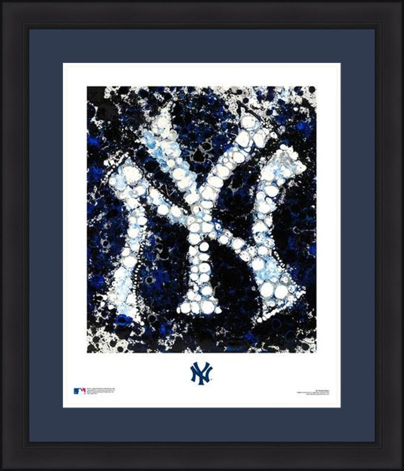 "New York Yankees Timothy Raines Logo Art 16"" x 20"" Framed and Matted Photo - Dynasty Sports & Framing"