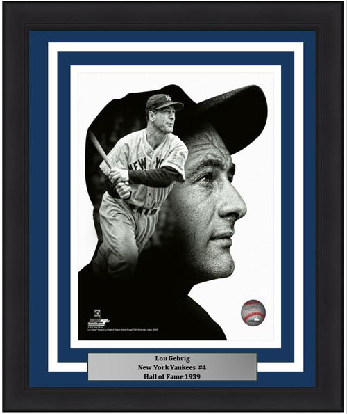"New York Yankees Lou Gehrig PROfile MLB Baseball 8"" x 10"" Framed and Matted Photo - Dynasty Sports & Framing"