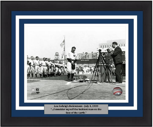 "Lou Gehrig New York Yankees Retirement Speech MLB Baseball 8"" x 10"" Framed and Matted Photo - Dynasty Sports & Framing"