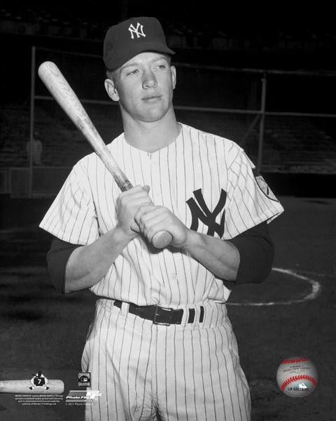 "Mickey Mantle Poses with Bat New York Yankees 8"" x 10"" Baseball Photo - Dynasty Sports & Framing"