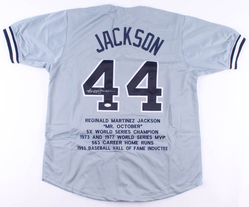 Reggie Jackson New York Yankees Autographed Baseball Stat Jersey - Dynasty Sports & Framing