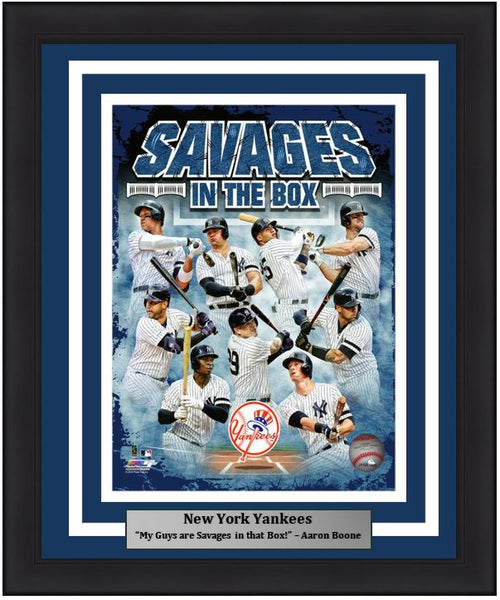 "New York Yankees Savages in the Box MLB Baseball 8"" x 10"" Framed and Matted Photo - Dynasty Sports & Framing"