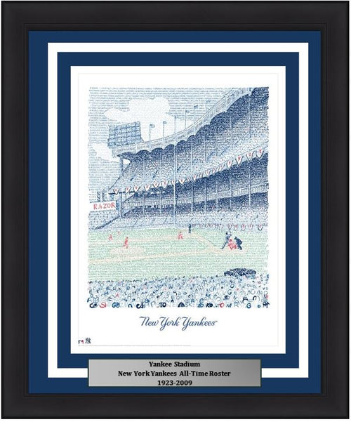 "New York Yankees Yankee Stadium MLB Baseball 16"" x 20"" Word-Art Stadium Framed and Matted Photo"
