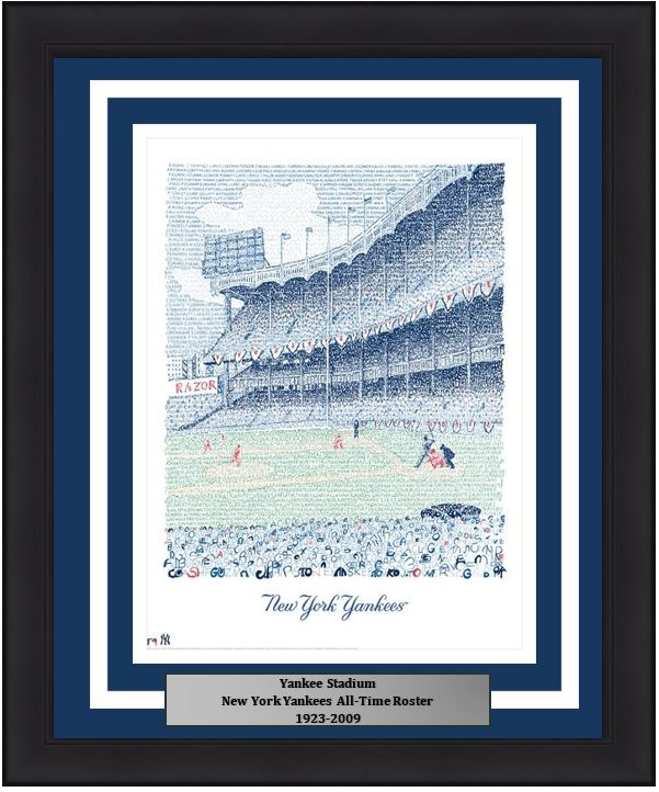 New York Yankees Stadium Mlb Baseball Word Art Framed Photo