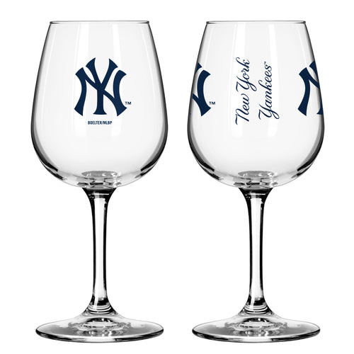 New York Yankees 12 oz. Baseball Wine Glass - Dynasty Sports & Framing