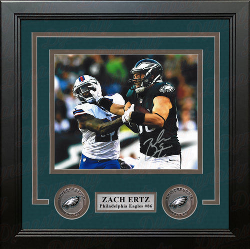 "Zach Ertz Stiff-Arm Philadelphia Eagles Autographed 8"" x 10"" Framed Football Photo - Dynasty Sports & Framing"