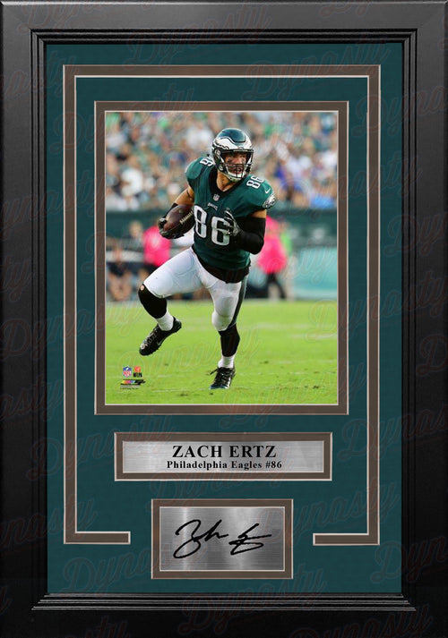 Zach Ertz in Action Philadelphia Eagles 8x10 Framed Football Photo with Engraved Autograph - Dynasty Sports & Framing