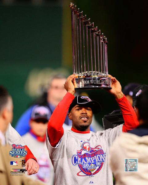 Jimmy Rollins Philadelphia Phillies 2008 World Series Trophy MLB Baseball Photo - Dynasty Sports & Framing