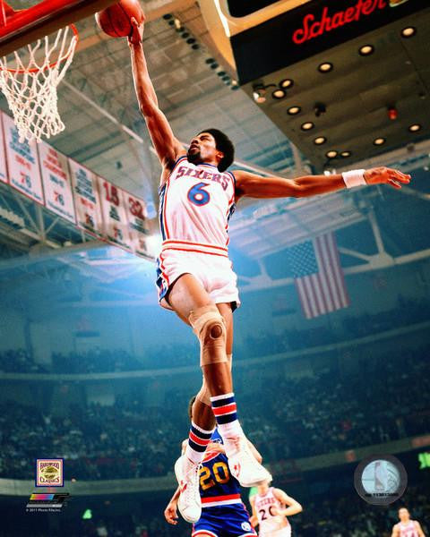 "Philadelphia 76ers Julius ""Dr. J"" Erving Windmill Dunk NBA Basketball Photo"