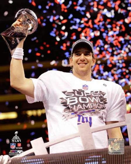 "Eli Manning Super Bowl XLVI Lombardi Trophy New York Giants NFL Football 8"" x 10"" Photo - Dynasty Sports & Framing"