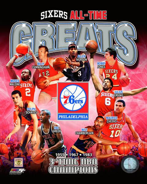 Philadelphia 76ers All-Time Greats Basketball Photo