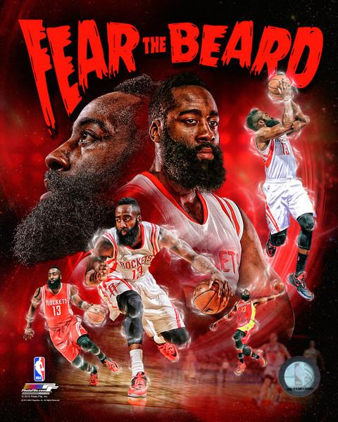 "James Harden Fear the Beard Houston Rockets 8"" x 10"" Basketball Collage Photo - Dynasty Sports & Framing"