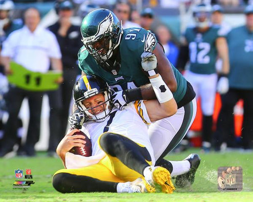 Fletcher Cox Sacks Roethlisberger Philadelphia Eagles NFL Football Photo