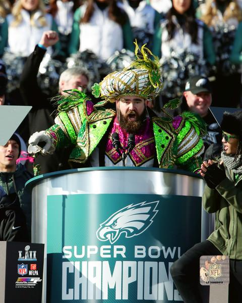 Jason Kelce Philadelphia Eagles Super Bowl LII Championship Parade Speech NFL Football Photo