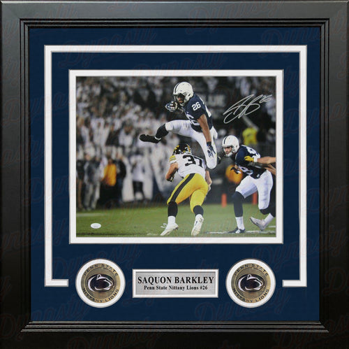"Saquon Barkley v. Iowa Penn State Nittany Lions Autographed 8"" x 10"" Framed College Football Photo - Dynasty Sports & Framing"