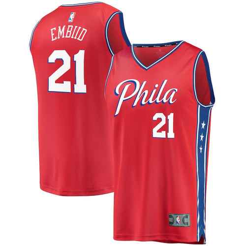 Joel Embiid Philadelphia 76ers Fast Break Replica Jersey - Statement Edition - Red - Dynasty Sports & Framing