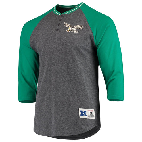 Philadelphia Eagles Mitchell & Ness Kelly Green Raglan Henley T-Shirt - Dynasty Sports & Framing