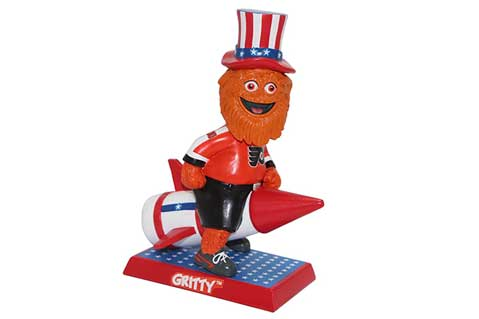 Gritty Philadelphia Flyers 4th of July Rocket Mascot Bobblehead