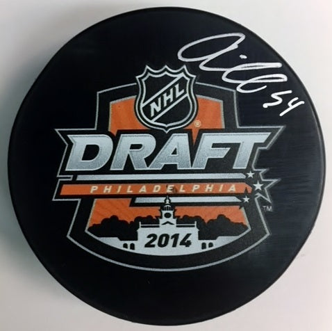 Philadelphia Flyers Oskar Lindblom Autographed NHL Hockey 2014 Draft Puck
