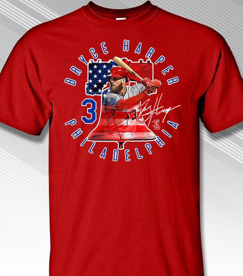 Bryce Harper Philadelphia Phillies Liberty Bell T-Shirt - Dynasty Sports & Framing