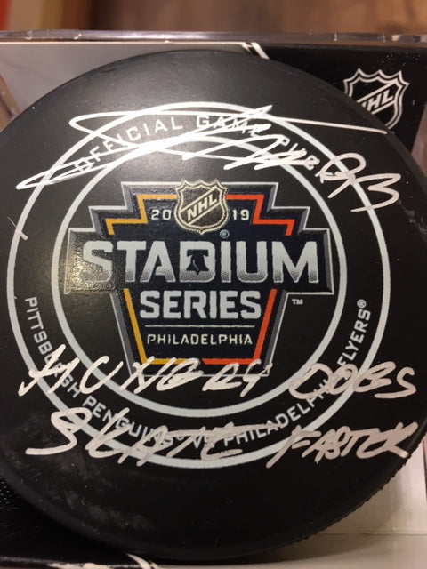 "Philadelphia Flyers Jakub Voracek Autographed NHL Hockey 2019 Stadium Series Game Puck Inscribed ""Hungry Dogs Skate Faster"""