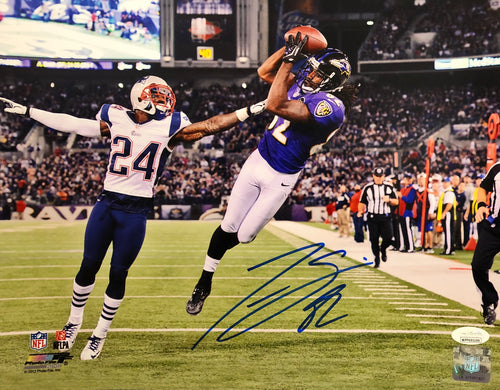 "Torrey Smith v. Patriots Baltimore Ravens Autographed 11"" x 14"" Photo - Dynasty Sports & Framing"