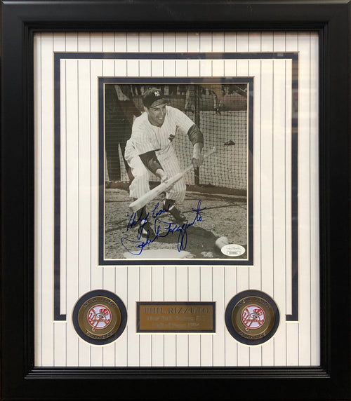 "Phil Rizzuto New York Yankees Autographed 5"" x 7"" Framed Photo with 'Holy Cow' Inscription - Dynasty Sports & Framing"
