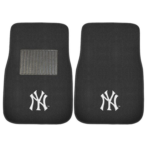 New York Yankees MLB Baseball 2 Piece Embroidered Car Mat Set