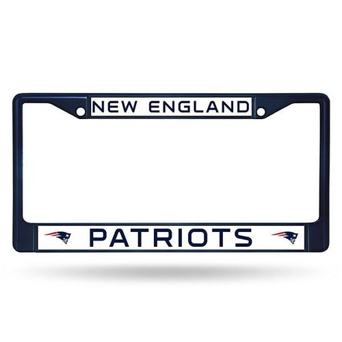 New England Patriots NFL Football Chrome License Plate Frame (Navy Blue) - Dynasty Sports & Framing