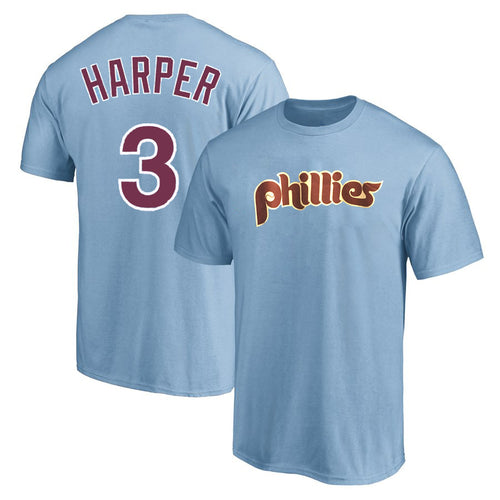 Bryce Harper Philadelphia Phillies Majestic Official Name & Number T-Shirt - Powder Blue - Dynasty Sports & Framing