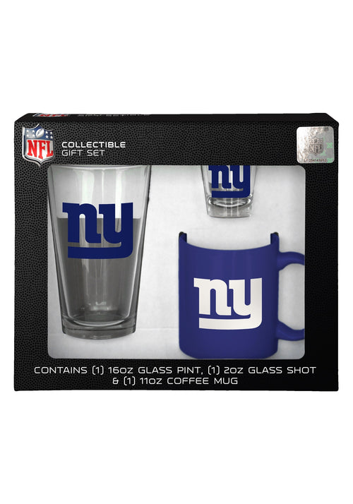 New York Giants NFL Football 3-Piece Glassware Gift Set