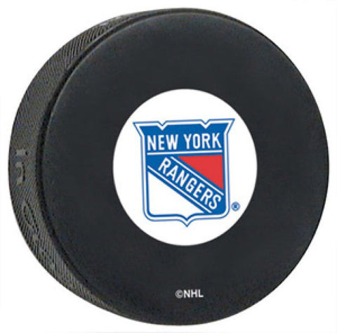 New York Rangers Autograph Model Logo Hockey Puck - Dynasty Sports & Framing