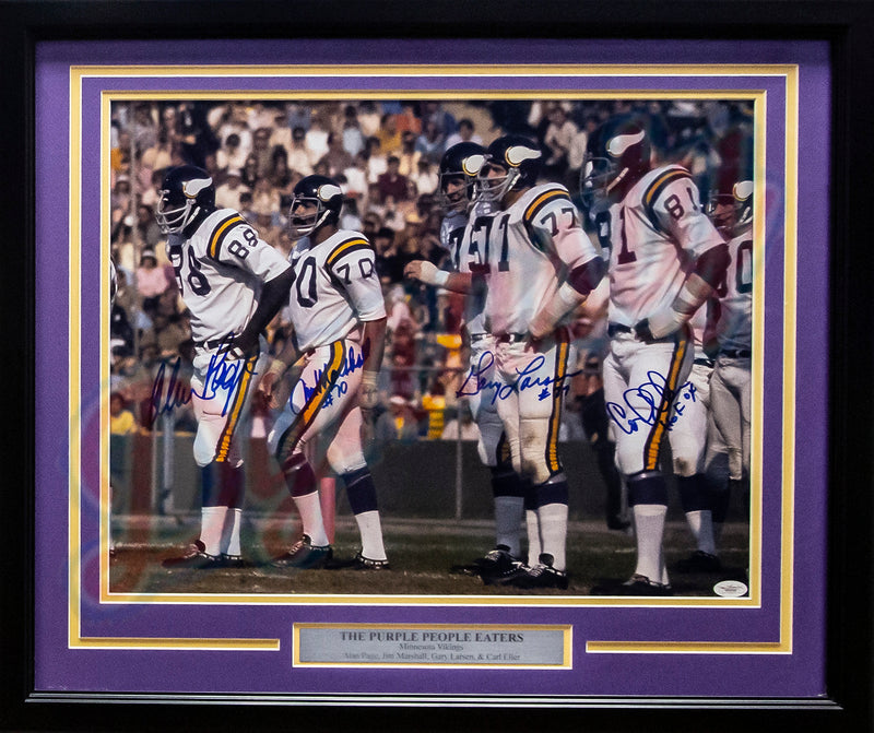 "Purple People Eaters Minnesota Vikings Autographed 16"" x 20"" Framed Football Photo - Dynasty Sports & Framing"