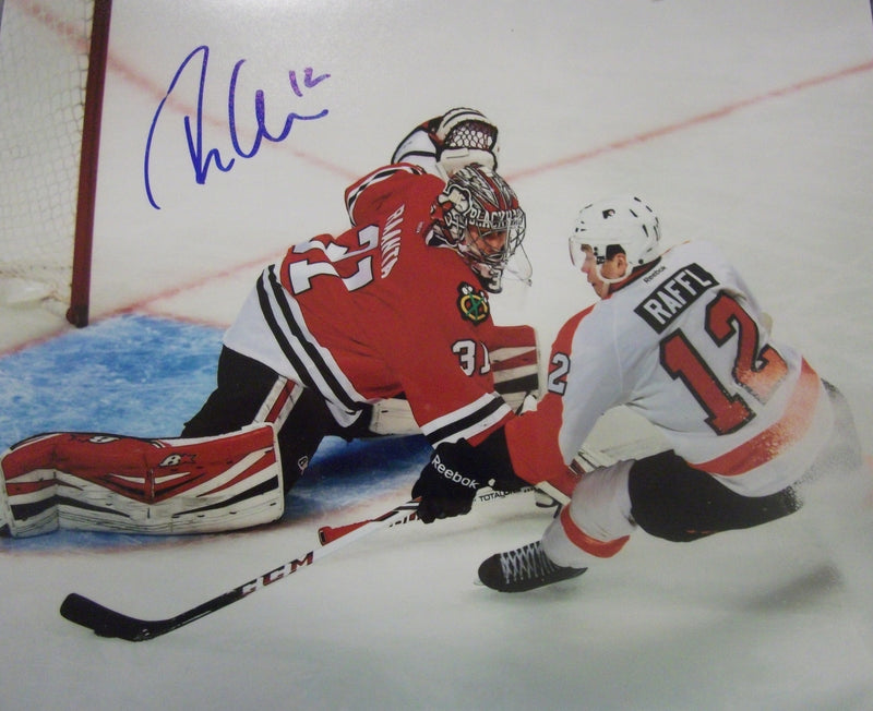 Philadelphia Flyers Michael Raffl v. Blackhawks Autographed NHL Hockey Photo - Dynasty Sports & Framing