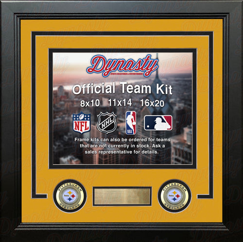 NFL Football Photo Picture Frame Kit - Pittsburgh Steelers (Yellow Matting, Black Trim) - Dynasty Sports & Framing