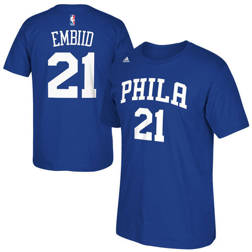 Philadelphia 76ers NBA Basketball Joel Embiid Name & Number T-Shirt - Dynasty Sports & Framing