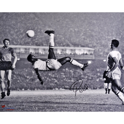 "Pele Bicycle Kick, Brazil v. Belgium Autographed Soccer 16"" x 20"" Photo - Dynasty Sports & Framing"