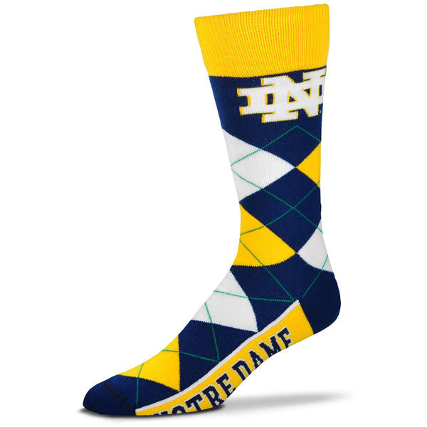Notre Dame Fighting Irish Men's NCAA College Argyle Socks - Dynasty Sports & Framing