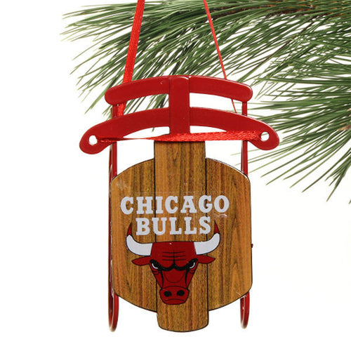Chicago Bulls Metal Sled Holiday Ornament - Dynasty Sports & Framing