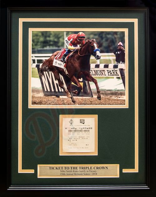 Horse Racing Mike Smith & Justify 2018 Belmont Stakes Framed and Matted Ticket Collage - Dynasty Sports & Framing