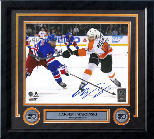Carsen Twarynski Philadelphia Flyers in Action Autographed NHL Hockey Framed Photo - Dynasty Sports & Framing